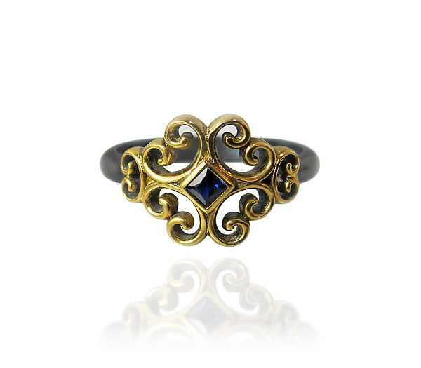 Rustic Rosette Ring with Blue Sapphire