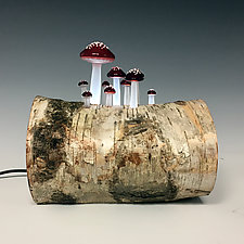 Birch Mushroom Log Lamp by Sage Churchill-Foster (Art Glass & Wood Table Lamp)
