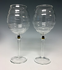 Pair of Beehive Goblets by Sage Churchill-Foster (Art Glass Goblets)