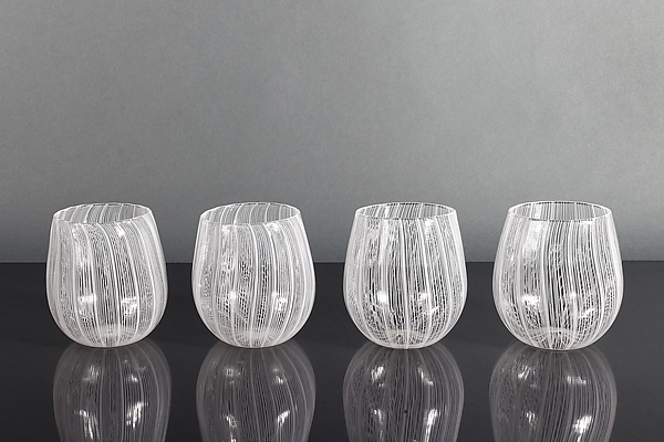 0dbb875fdbf Moiré Laceware Wine Glasses by Tyler Kimball (Art Glass Drinkware) | Artful  Home