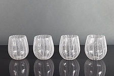 Moire Laceware Wine Glasses by Tyler Kimball (Art Glass Drinkware)