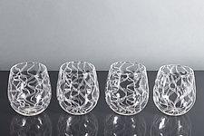 Nastri Laceware Wine Glass by Tyler Kimball (Art Glass Drinkware)