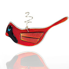 Christmas Cardinal by Suz Mole (Art Glass Ornament)