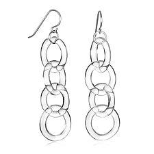 Circle Chain Earrings by Roxann Slate (Art Glass Earrings)