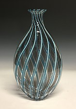 Aqua Vertigo Cane Vase by John Gibbons (Art Glass Vase)