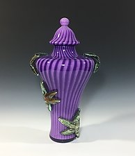 Amethyst Sunken Sea Vessel by John Gibbons (Art Glass Vase)