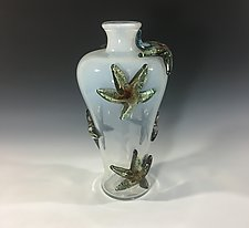 White Starfish Amphora by John Gibbons (Art Glass Vase)