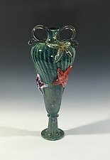 Tide Pool Green Starfish Amphora by John Gibbons (Art Glass Vase)