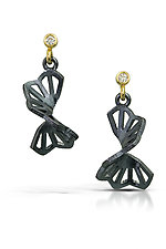 Petite Hyacinth Fold Earrings by Karin Jacobson (Gold, Silver & Stone Earrings)