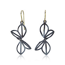 Medium Anise Fold Earrings with French Wires by Karin Jacobson (Silver Earrings)