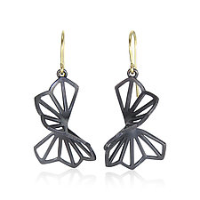 Medium Hyacinth Fold Earrings with French Wires by Karin Jacobson (Silver Earrings)