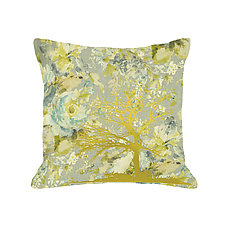Gilded Patterned Tree Pillow by Helene  Ige (Rayon Pillow)