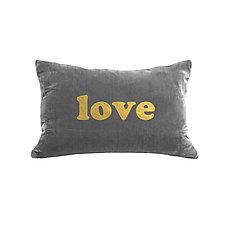 Gilded Luxe Love Bold Pillow by Helene  Ige (Velvet Pillow)