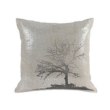 Gilded Linen Tree Pillow by Helene  Ige (Linen Pillow)