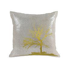 Gilded Linen Tree Pillow by Helene  Ige (Linen Pillow)