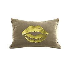 Gilded Luxe Lips Pillow by Helene  Ige (Velvet Pillow)