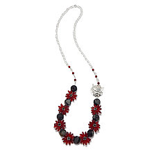 Red Star Bright Necklace by Kathryn Bowman (Glass Bead Necklace)