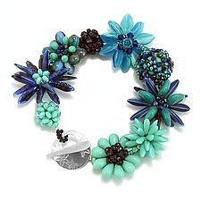 Blue Border Bracelet by Kathryn Bowman (Glass Bead Bracelet)