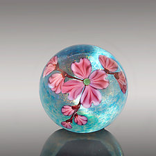 Pink Dogwood by Orient & Flume Art Glass (Art Glass Paperweight)