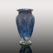 Blue Snow Storm by Orient & Flume Art Glass (Art Glass Vase)