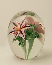 Lilies Magnum by Orient & Flume Art Glass (Art Glass Paperweight)
