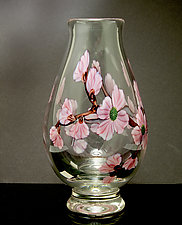 Narrow Pink Dogwood Vase by Orient & Flume Art Glass (Art Glass Vase)