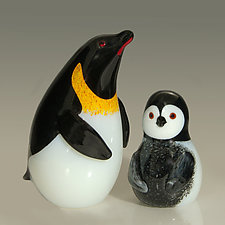 Emperor Penguin and Emperor Chick by Orient & Flume Art Glass (Art Glass Paperweight)
