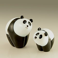 Panda and Panda Cub by Orient & Flume Art Glass (Art Glass Sculpture)