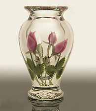 Pink Rosebuds Vase by Orient & Flume Art Glass (Art Glass Vase)