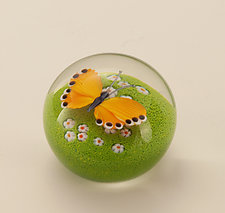 Orange Butterfly by Orient & Flume Art Glass (Art Glass Paperweight)