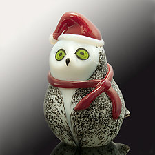 Holiday Snow Owl by Orient & Flume Art Glass (Art Glass Sculpture)