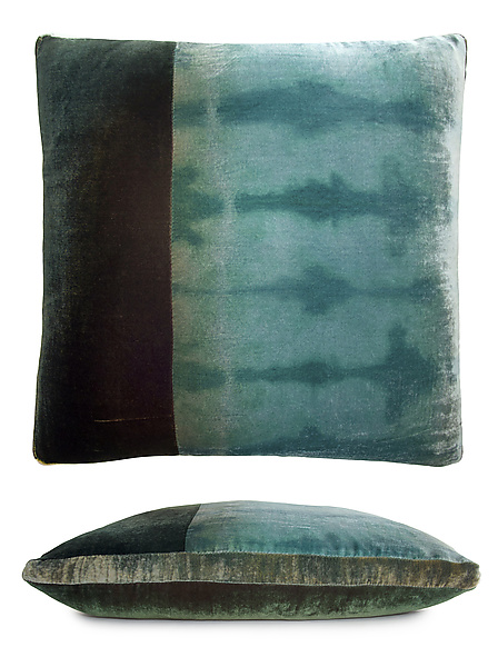 Large Colorblock Velvet Pillow in Green, Gold & Brown