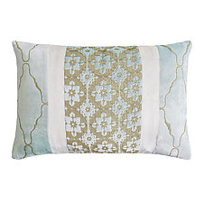 Metallic Small Moroccan Trellis Patchwork Lumbar Pillow by Kevin O'Brien (Silk Velvet Pillow)
