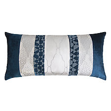 Metallic Arches Patchwork Long Lumbar Pillow by Kevin O'Brien (Silk Velvet Pillow)