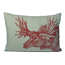 Sketchbook Moose Linen Pillow in Topaz by Kevin O'Brien (Linen Pillow)