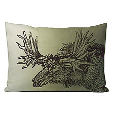 Sketchbook Moose Linen Pillow in Twighlight by Kevin O'Brien (Linen Pillow)