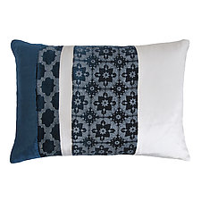 Metallic Small Moroccan Mod Fretwork Patchwork Lumbar Pillow by Kevin O'Brien (Silk Velvet Pillow)