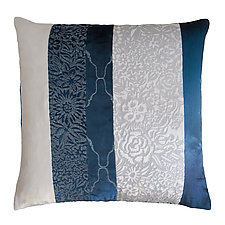 Metallic Garland Mod Fretwork Patchwork Pillow by Kevin O'Brien (Silk Velvet Pillow)