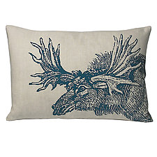 Sketchbook Moose Linen Pillow in Blue by Kevin O'Brien (Linen Pillow)