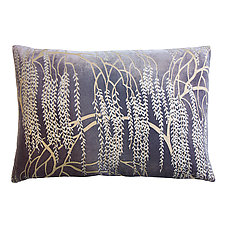 Metallic Willow Velvet Lumbar Pillow by Kevin O'Brien (Silk Velvet Pillow)