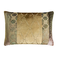 Metallic Arches Patchwork Lumbar Pillow by Kevin O'Brien (Silk Velvet Pillow)