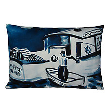 Watercolor Lobster Boat Pillow - Rectangular by Kevin O'Brien (Cotton Pillow)