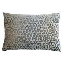 Triangles Velvet Lumbar Pillow by Kevin O'Brien (Silk Velvet Pillow)