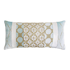 Metallic Small Moroccan Patchwork Long Lumbar Pillow by Kevin O'Brien (Silk Velvet Pillow)