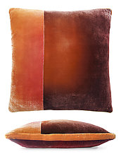 Large Colorblock Velvet Pillow in Wildberry by Kevin O'Brien (Silk Velvet Pillow)