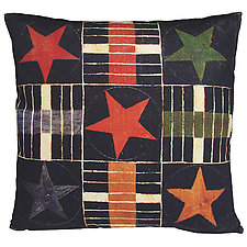 Watercolor Parcheesi Stars Pillow by Kevin O'Brien (Cotton Pillow)