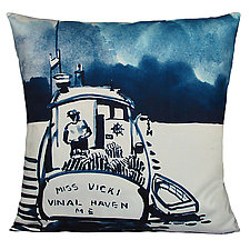 Watercolor Lobster Boat Pillow by Kevin O'Brien (Cotton Pillow)