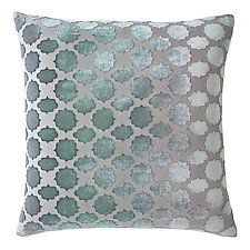Mod Fretwork Velvet Pillow by Kevin O'Brien (Silk Velvet Pillow)