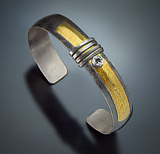 Basic Cuff with Topaz by Patricia McCleery (Gold, Silver & Stone)