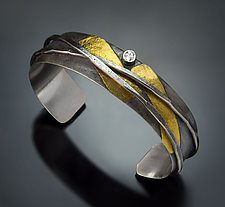 Medium Wrap Cuff by Patricia McCleery (Gold, Silver & Stone Bracelet)